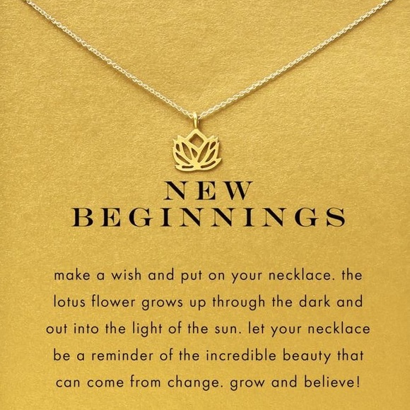 Dogeared Jewelry New Beginnings Lotus Necklace On Card Gold Gift